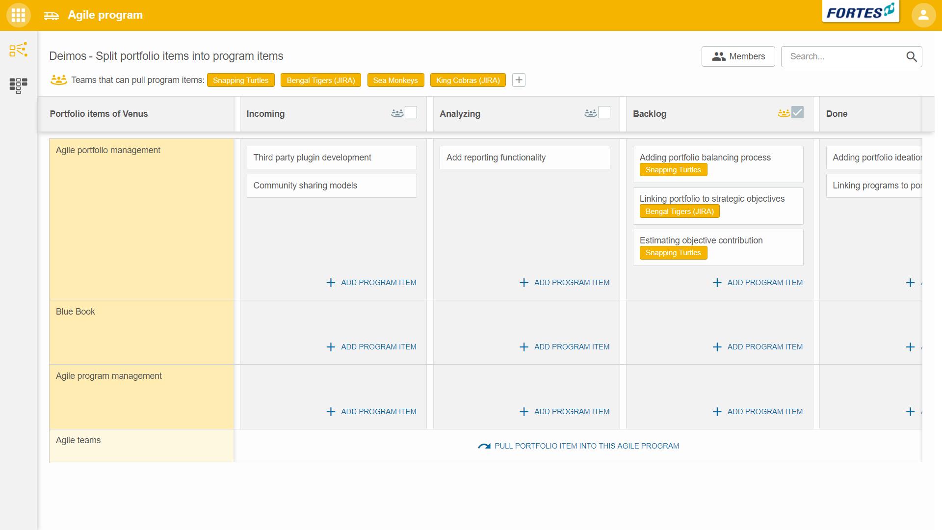 Scaled agile app Fortes Change Cloud